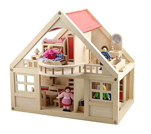 B&Julian ® Groß Puppenhaus Holz mit 26 Möbel 4 Puppen und Zubehör Zwei Etage für Kinder