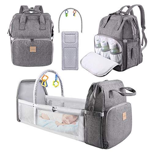 Baby Wickelrucksack Wickeltasche, Eccomum Rucksack Babysachen mit Wickelauflage für Unterwegs, Babytasche...