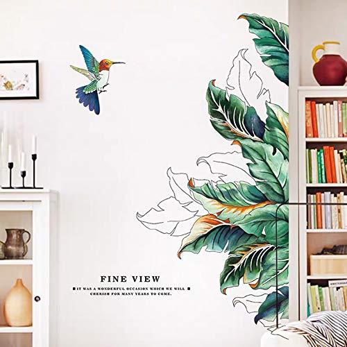 WandSticker4U®- XL Wandtattoo TROPISCHE PFLANZEN & Kolibri I Wandbilder: 120×70 cm I Wandsticker Wohnzimmer...