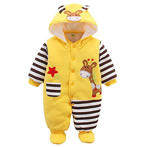 Baby Overall Mit Kapuze Footies Strampler Schneeanzüge Karikatur Jumpsuit Unisex Winter Kleidungsset, Giraffe...