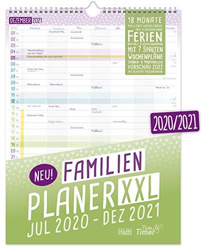 FamilienPlaner XXL 2020/2021 mit 7 Spalten, 33 x 44 cm | Wandkalender für 18 Monate: Juli 2020 - Dezember...