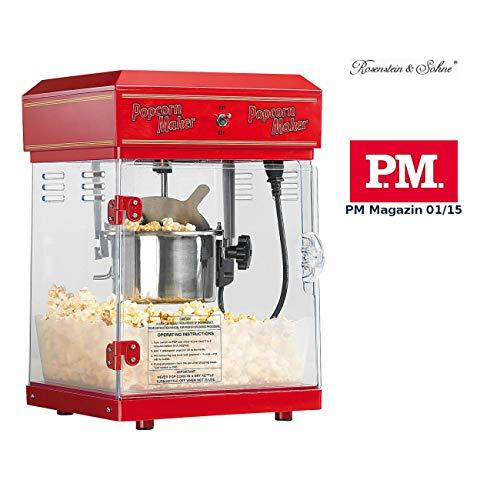 Rosenstein & Söhne Popcornmaschine: Profi-Retro-Popcorn-Maschine'Cinema' mit Edelstahl-Topf im 50er-Stil...