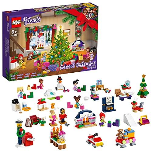 LEGO 41690 Friends Adventskalender 2021 mit Weihnachtsspielzeug für Jungen und Mädchen mit 5 Mikropuppen...