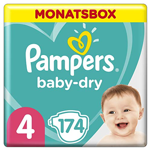 Pampers Baby-Dry Windeln, Gr. 4, 9kg-14kg, Monatsbox (1 x 174 Windeln)