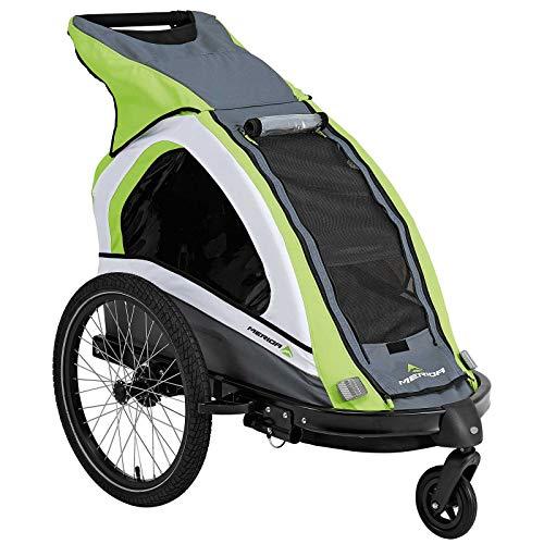 Merida Uno Kinderfahrradanhänger für 1 Kind, mit Buggy-Set und Jogger-Set- Grün