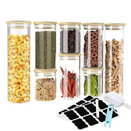 8er Vorratsgläser Set - GEEDIAR Vorratsdosen Glas Set Luftdicht Glasbehälter mit Bambus Deckel -...