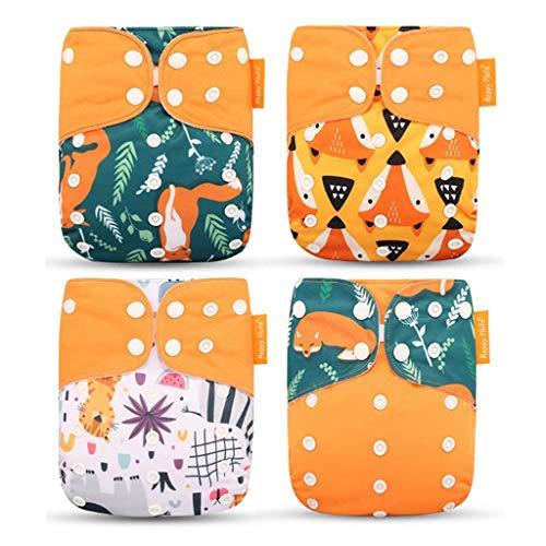 Wenosda 4PCS Baby Taschenwindeln StoffwindelWaschbare wiederverwendbare Windeln Legen Sie eine...