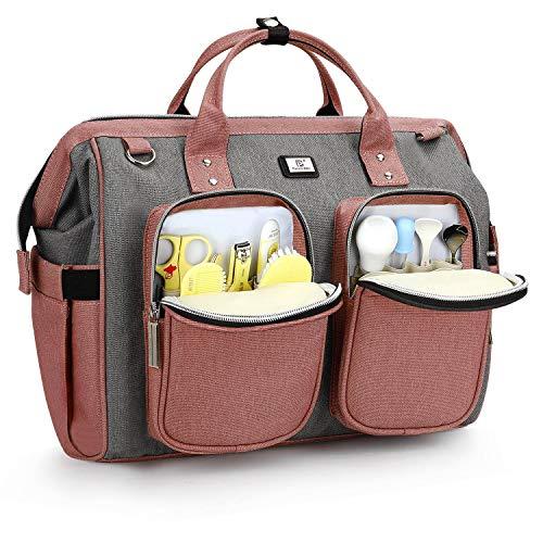 Pomelo Best Wickeltasche mit wasserdicher Wickelunterlage und 2 Kinderwagen Haken verstellbare Schultergurt...