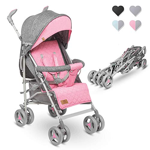 Lionelo Irma Kinderwagen Klappbarer Buggy mit Rückenlehnenverstellung 6-Zoll-Rädern (Pink)