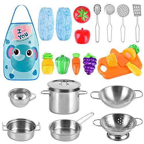 BGdoyz Küchenspielzeug Küche Pretend Spielzeug Kinderküche Kochgeschirr Edelstahl Töpfe und Pfannen Set...