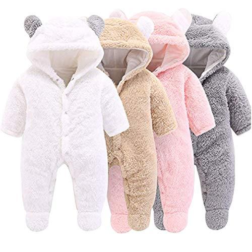 Haokaini Baby-Strampler mit Kapuze und Bärenwärmer aus Baumwolle und Fleece, Grey, 0-3 Monate