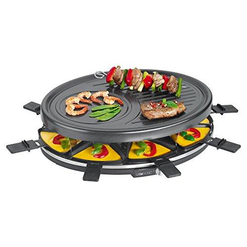 Clatronic RG 3517 Raclette-Grill zum Grillen und Überbacken, 8 Pfännchen und 8 Holzspatel,...