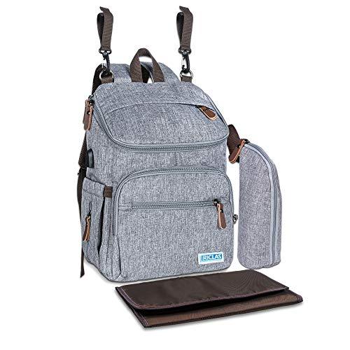RICLAS | Premium Wickelrucksack - multifunktionale Wickeltasche groß mit Wickelunterlage, Kinderwagen...