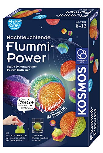 KOSMOS 654108 Fun Science - Nachtleuchtende Flummi-Power, Stelle 20 kunterbunte Power-Bälle her,...