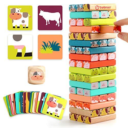 TOP BRIGHT Wackelturm Kinderspiel ab 3 Jahren, Stapelturm Holz Spielzeug Brettspiel, Holzspielzeug für 3 4 5...