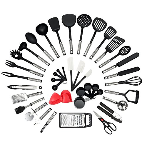 NEXGADGET Küchenhelfer Set, 42 Stücke Küchenzubehör Kochgeschirr Set aus Edelstahl & Nylon,...