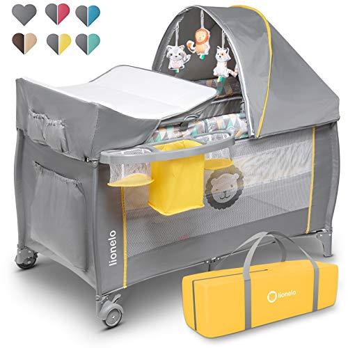 Lionelo Sven Plus 2 in 1 Baby Bett Laufstall Baby ab Geburt bis 15 kg Wickelauflage Moskitonetz luftige...