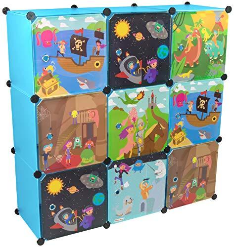 KEKSKRONE Großer Kinderschrank Bunte Motiv-Türen - DIY Stecksystem - 9 Module je 37 x 37 x 37 cm, Blau |...
