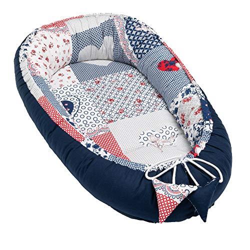 Solvera_Ltd Babynest 2seitig Kokon öko Babybett Nestchen für Neugeborene 100% Baumwolle Kuschelnest Weiches...