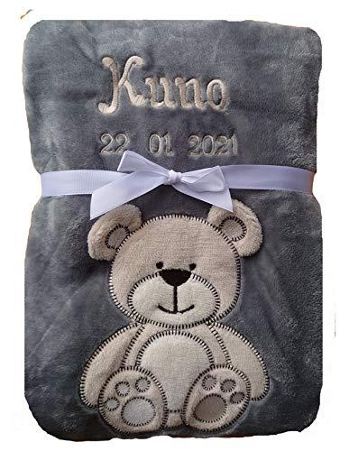 Babydecke viele Farben & Motive mit Namen / Geburtsdatum Bestickt Geschenk Baby (grau Bär)