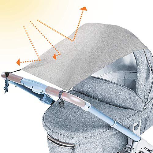 tEEZErshop Universal Sonnensegel für Kinderwagen mit UV Schutz Beschichtung 50+| Reißfester & waschbar...