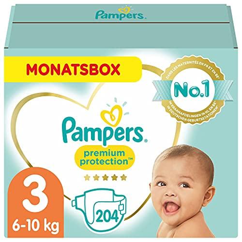 Pampers Baby Windeln Größe 3 (6-10kg) Premium Protection, 204 Stück, MONATSBOX, Pampers Weichster Komfort...