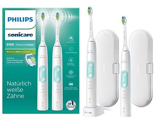 Philips Sonicare ProtectiveClean 5100 elektrische Zahnbürste HX6857/34 Doppelpack – 2 Schallzahnbürsten...