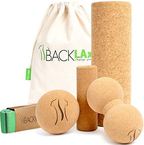 BACKLAxx® Faszienrolle Set aus Kork - Faszienball, Korkrolle groß & klein, Duoball für Faszien, Rücken und...