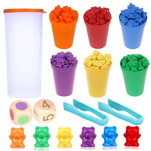 Camelize Bären Zählen,71 Stück Montessori Mathe Spielzeug,Bunte Regenbogen Zählen Bären Spiel mit...