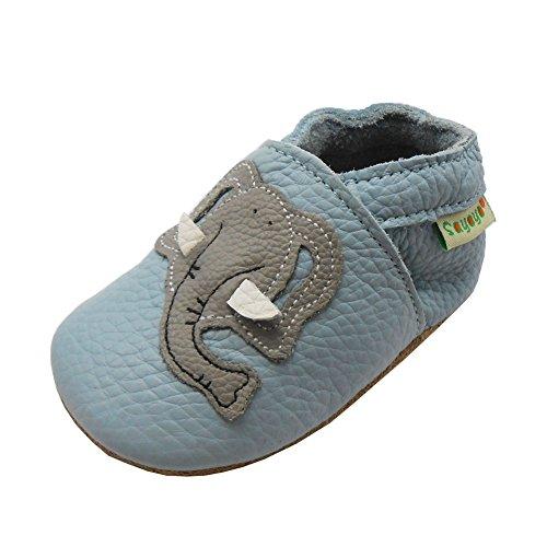 SAYOYO Netter Elefant WeichesLeder Lauflernschuhe Krabbelschuhe Babyschuhe 25/26 (24-36) XXL Monate,Blau