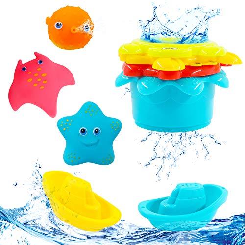 Hyselene 9 Stück Badespielzeug Baby ab 1 Jahr, Badewannenspielzeug Kinder, Spielzeug Badewanne mit 3 Typen...