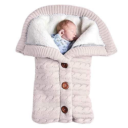 Baby Schlafsack für Kinderwagen Gestrickt Schlafsack Süße Samt Warme Tasche Pucksack Stricken Wickeln...