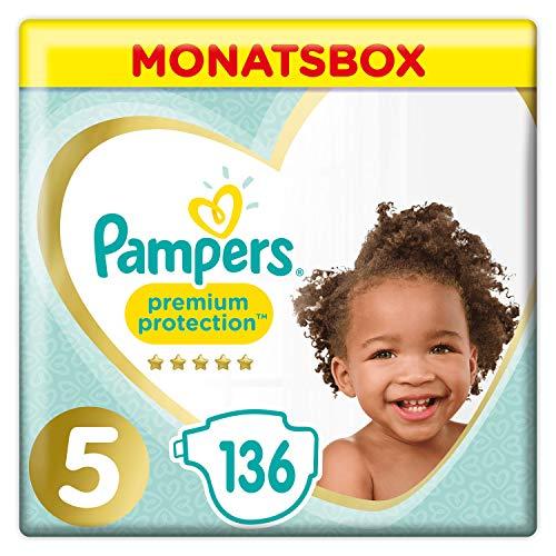 Pampers Premium Protection Windeln, Gr. 5, 11-16kg, Monatsbox (1 x 136 Windeln), Pampers Weichster Komfort Und...