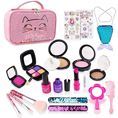 FancyWhoop Kinderschminke Set Mädchen 21 Stück Waschbar Schminkset Rollenspiel Spielzeug Mit Kosmetiktasche...