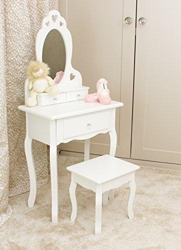 Mädchen Schminktisch Weiß mit Spiegel & Hocker für Kinder | Kleiner Kindertisch, Ideal für Mädchen 3-7...