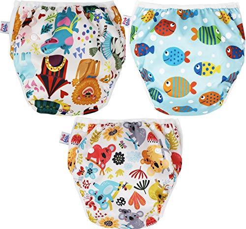 Pink&Blue (3er Pack) Wiederverwendbare Schwimmwindel und Schwimmhose (Badehose) Umweltfreundlich, schonend...