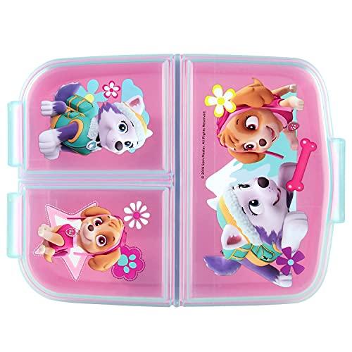 P:os 33429 - Brotdose für Mädchen mit Paw Patrol Motiv in pink und 3 Fächern mit Clip-Verschluss, ca. 14 x...