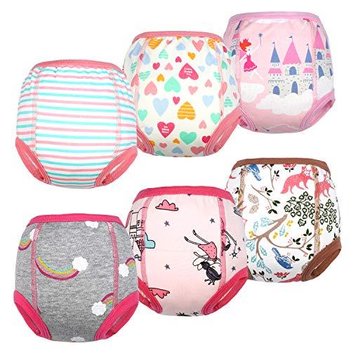 Flyish Packung mit 6 Baby Trainingshosen Töpfchen Unterwäsche Kleinkinder Windelhosen Toilettentraining...