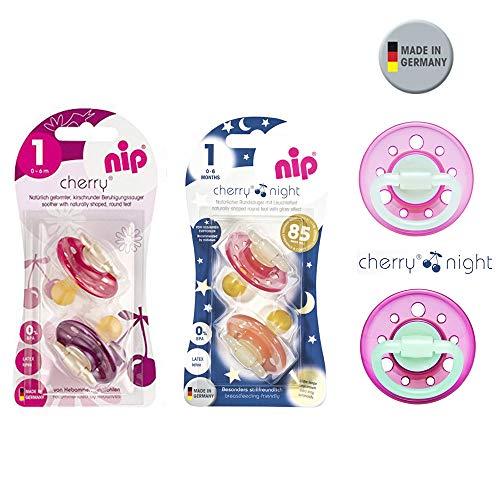 NIP Cherry & Cherry Night Schnuller Set 6 Stück (2 x Day Bordeaux-Lila + 4 x Night Girl mix) // Gr.1 //...