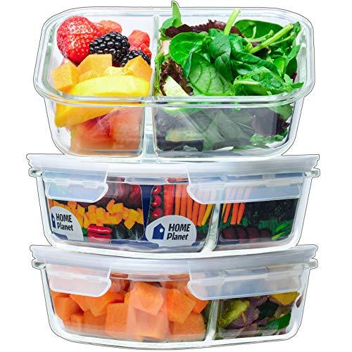 Home Planet Meal Prep Boxen Glas 2 Fach | 1050ml 3er Set | 97% weniger Kunststoffverpackungen | Mealprepdosen...