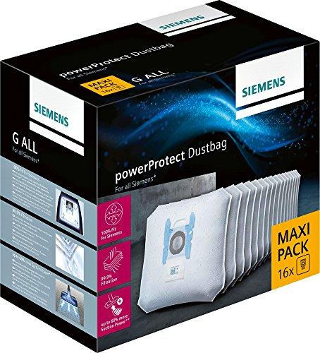 Siemens PowerProtect Staubsaugerbeutel VZ16GALL (16 Stück), mit Verschluss, effizienter Motorschutz, 50%...