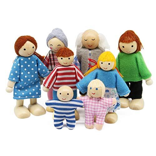 Wagoog Puppenhaus Puppenfamilie Set, Holz 8 Personen Figuren Puppen Spielset für Puppenhaus Zubehör Mädchen...