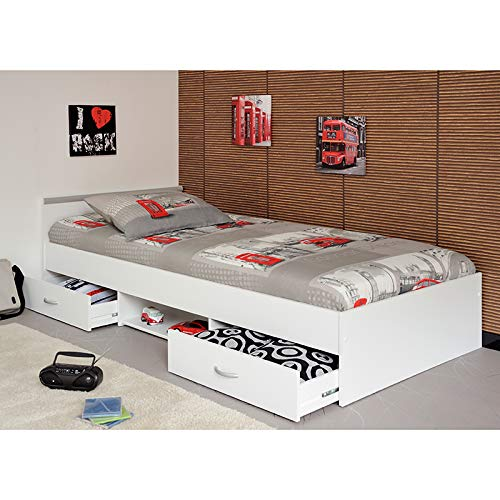 Jugendmöbel24.de Funktionsbett Alawis 90 * 200 cm weiß inkl 2 Roll-Bettkästen