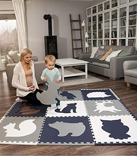 Hakuna Matte große Puzzlematte für Babys 1,8x1,8m – 9 XXL Platten 60 x 60cm mit Tieren – 20% dickere...