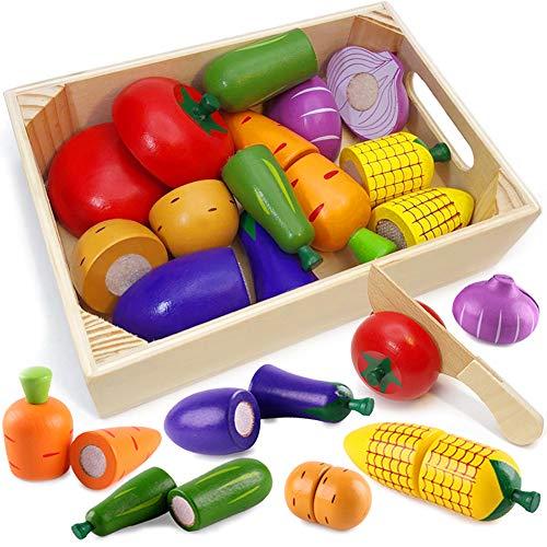 Airlab Küchenspielzeug für Kinder aus Holz, Kinderküche Zubehör, Schneiden Obst Gemüse Lebensmittel Holz...