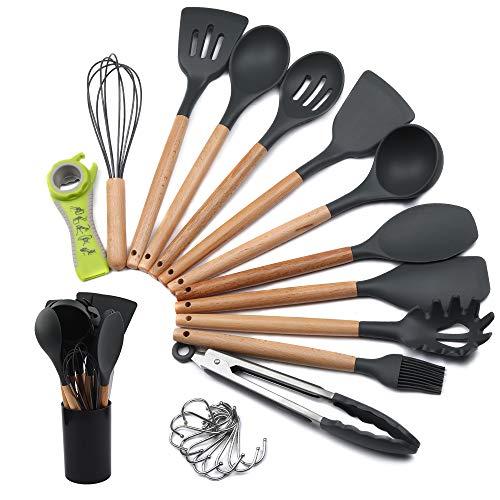 mreechan Küchenhelfer Set, Silikon-Kochgeschirr 23 Stück, hitzebeständiges Küchenset mit Holzgriffen...