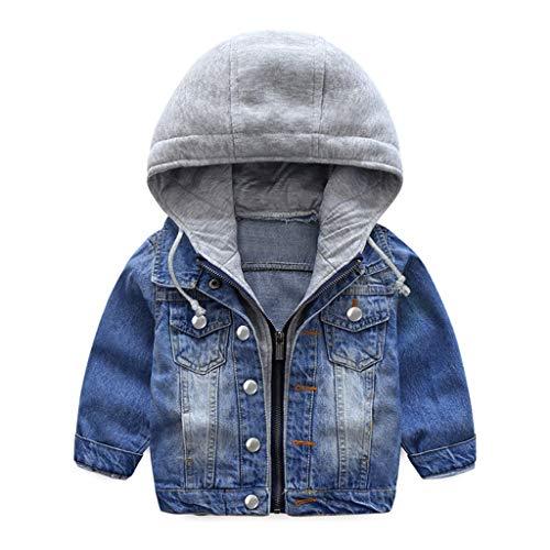 Jungen Jeansjacke Kinder Jeans Jacke Mantel Kapuze Langarm Blau Denim Tops Kleidung ReißVerschluss FrüHling...