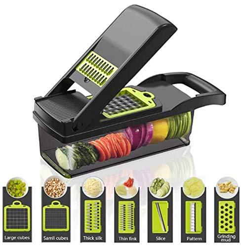 FOOLS ALIBAI Multifunktional Smart Vegetable Slicer,7 in 1 Mandolin Einstellbare Gemüseschneider Zwiebel...