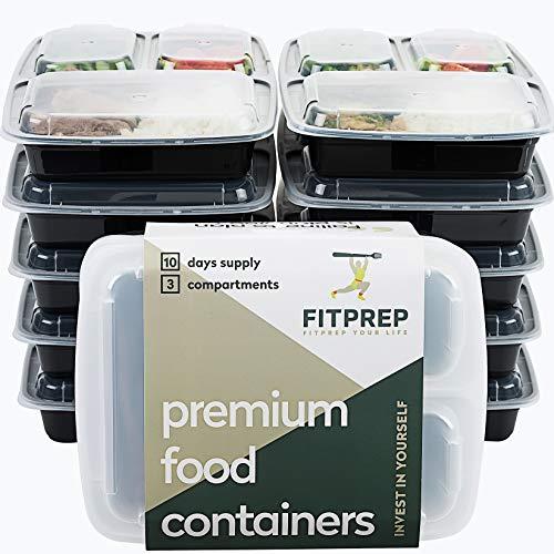 FITPREP® - DAS ORIGINAL - 3-Fach Meal Prep Boxen - 10er Pack - für Meal Prep empfohlen - inkl. schönem...