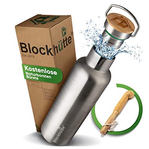 Blockhütte® Premium Edelstahl Trinkflasche isoliert mit [GRATIS Bürste] - Die Innovative Isolierflasche ist...